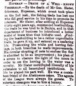 1881 - George Slater obituary in Elgin Courant