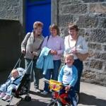 2008 - Jessie Bruce, Janice Craib & Helen McPherson with David & Alexander Craib outside church playschool.