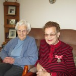 2014 - Annie Stuart with British Empire medal for services to church. With sister Nellie