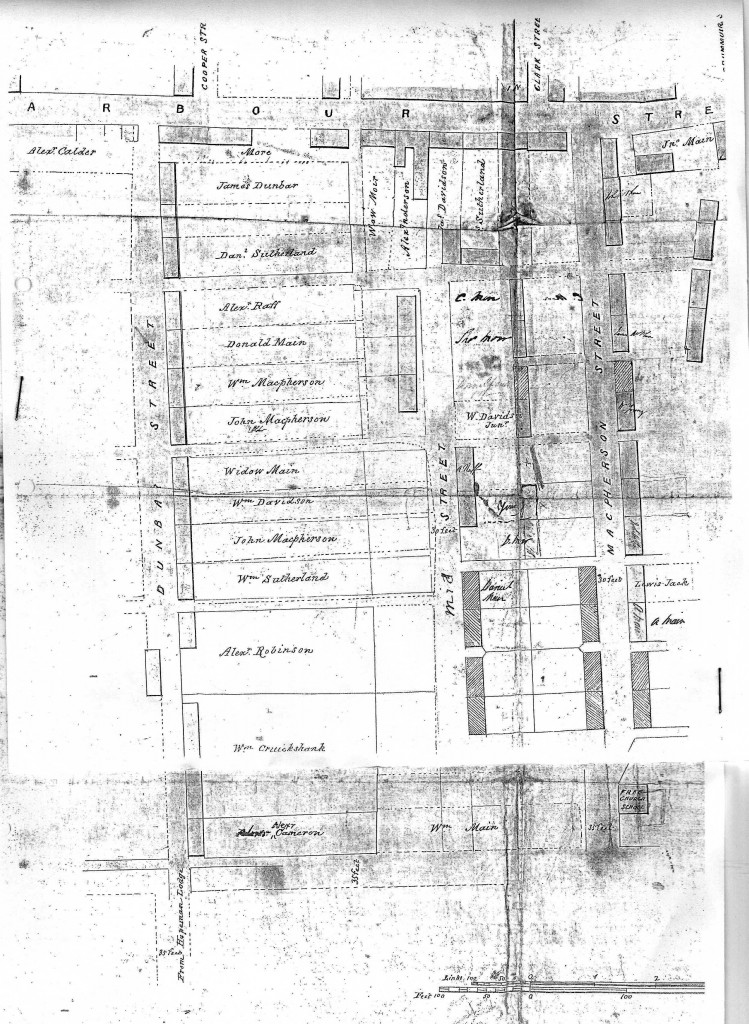 Old street plan with names of hous occupiers. see also the naming of Hopeman Streets