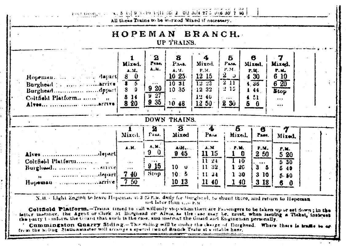 1892 -Train timetable between Hopeman & Alves